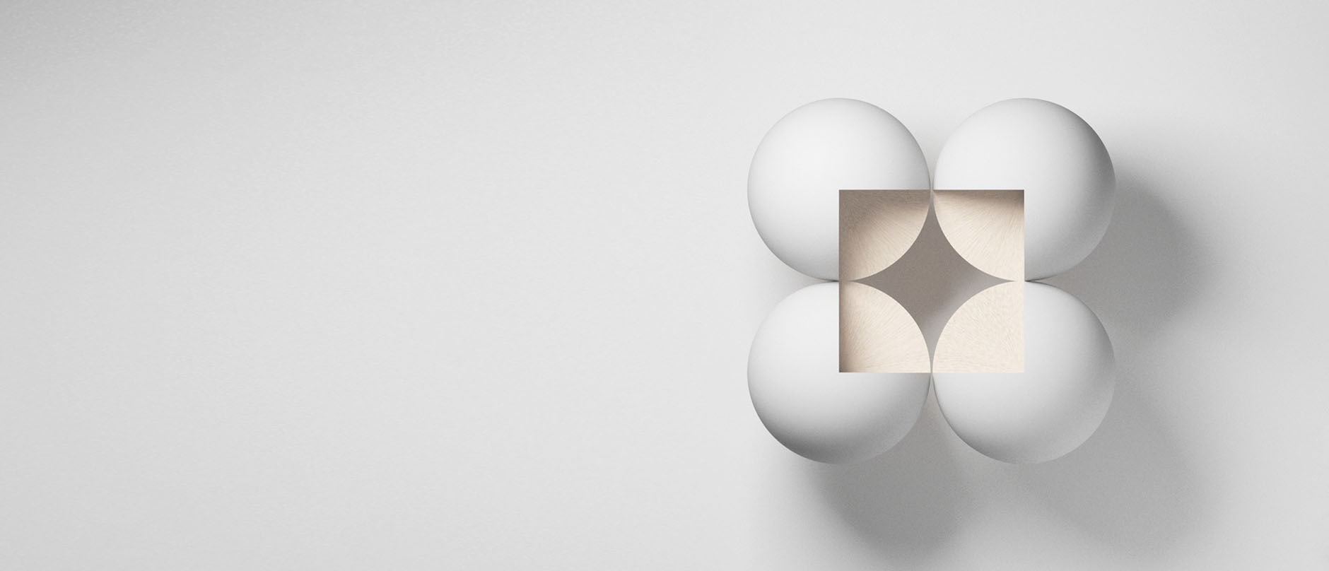 white spheres with a square cut into the center