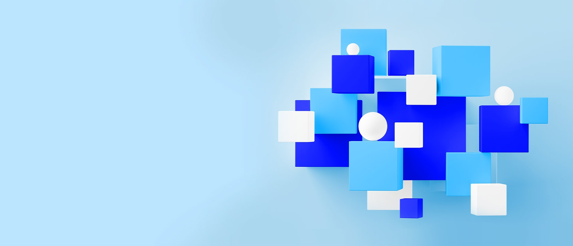 light blue background with abstract object on the right made blue, light blue and white squares and circles