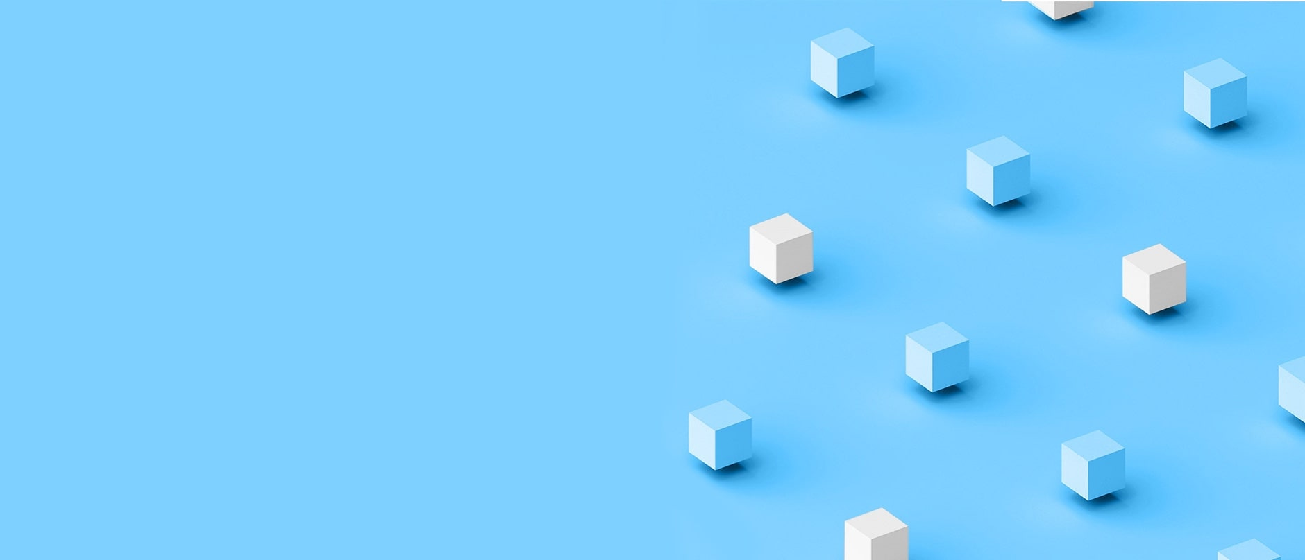 blue background with blue and white alternating cubes floating on the right half of the screen