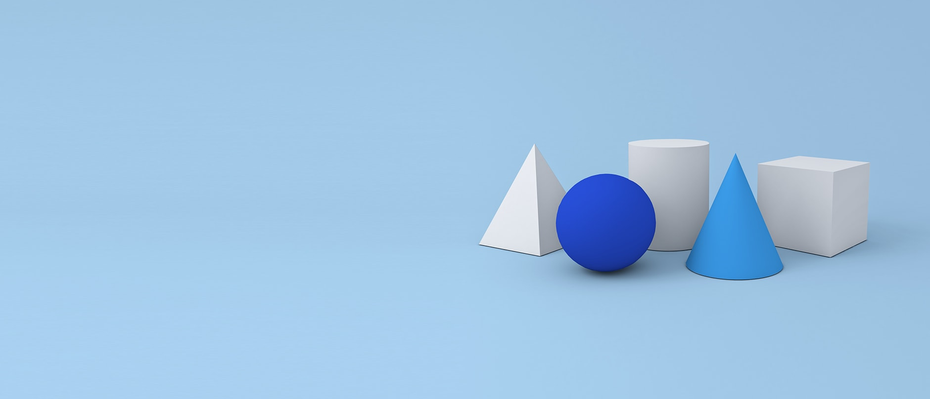 blue and white 3D shapes