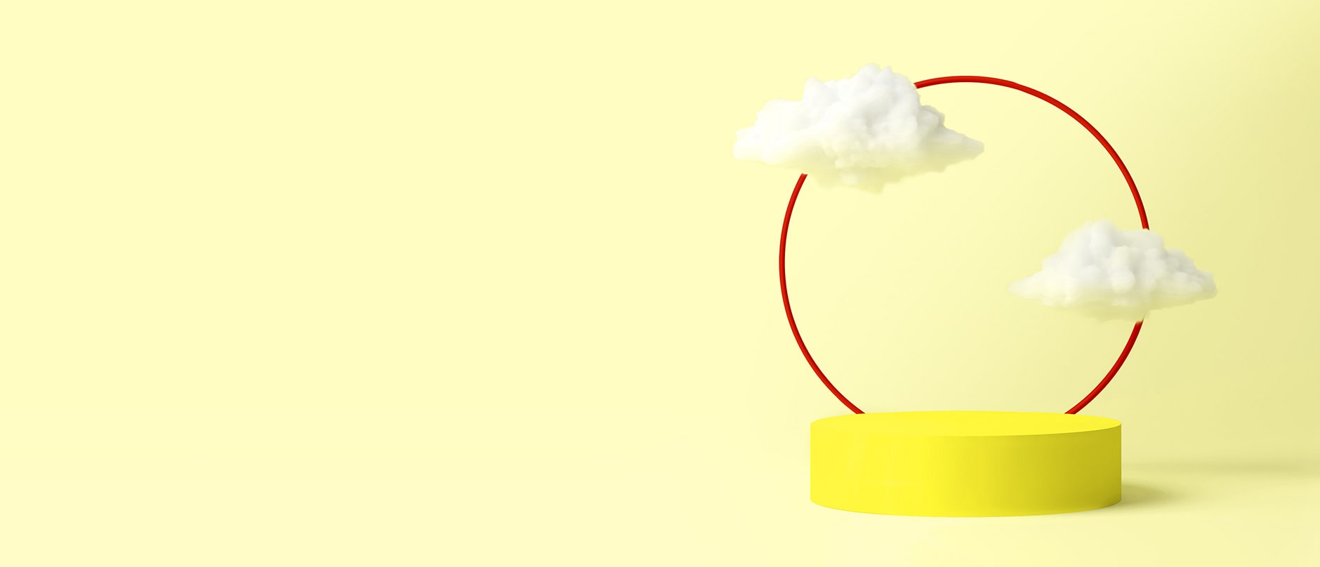 red circle on a white stand on yellow background with two fluffy clouds