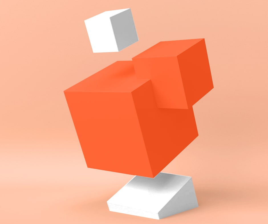 Blocs orange et blanc