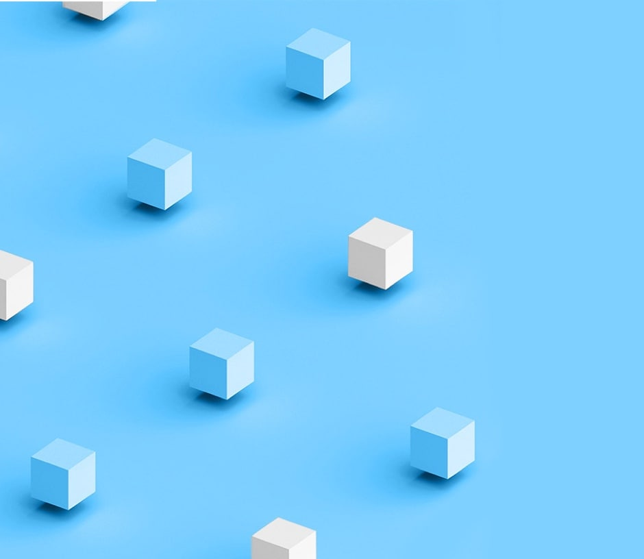 small white and blue cubes hovering over light blue base