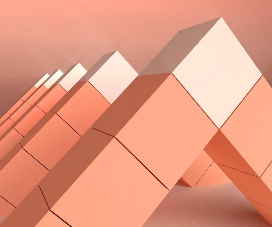 Five a-frame peach structures comprised of cubes with a white cube at each apex, lined up in front of peach background