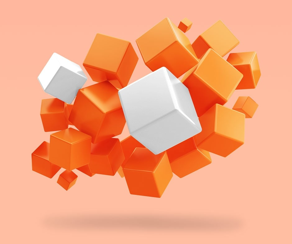 orange and white cubes