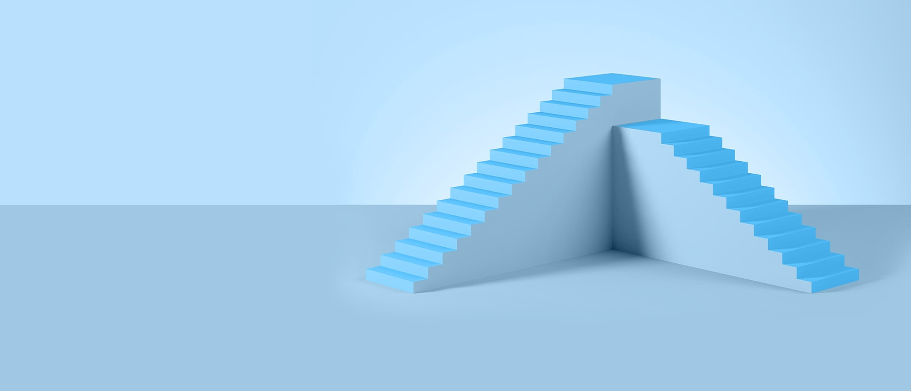 Two blue stair cases on a blue background