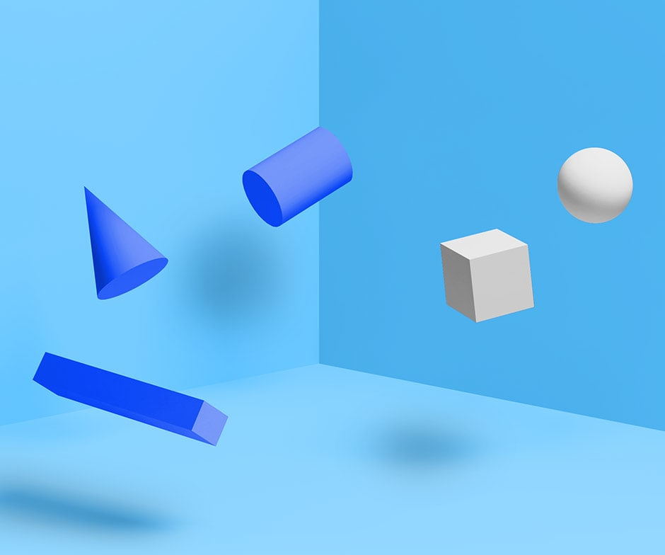 3 blue shapes and 2 white shapes floating in a blue room