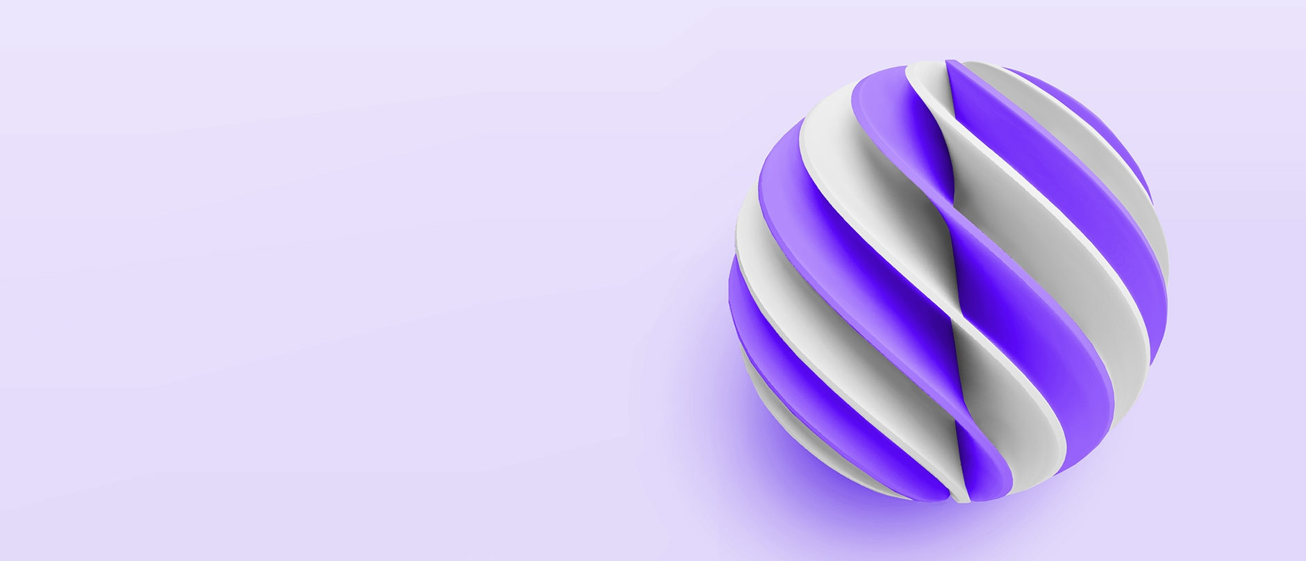 sphere made up of white and purple streaks on a purple background