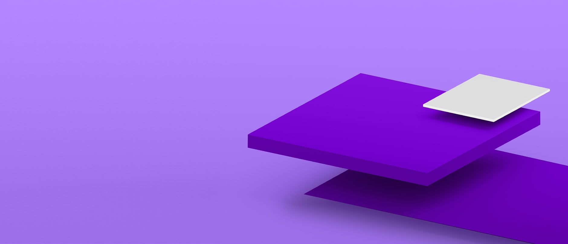 Purple square floating with a white square above it, on a purple background