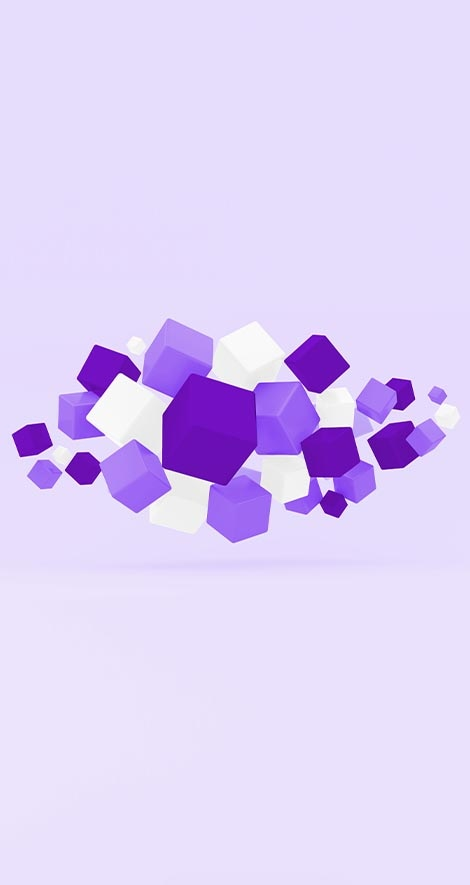 Many white and purple cubes floating in a pile on a purple background