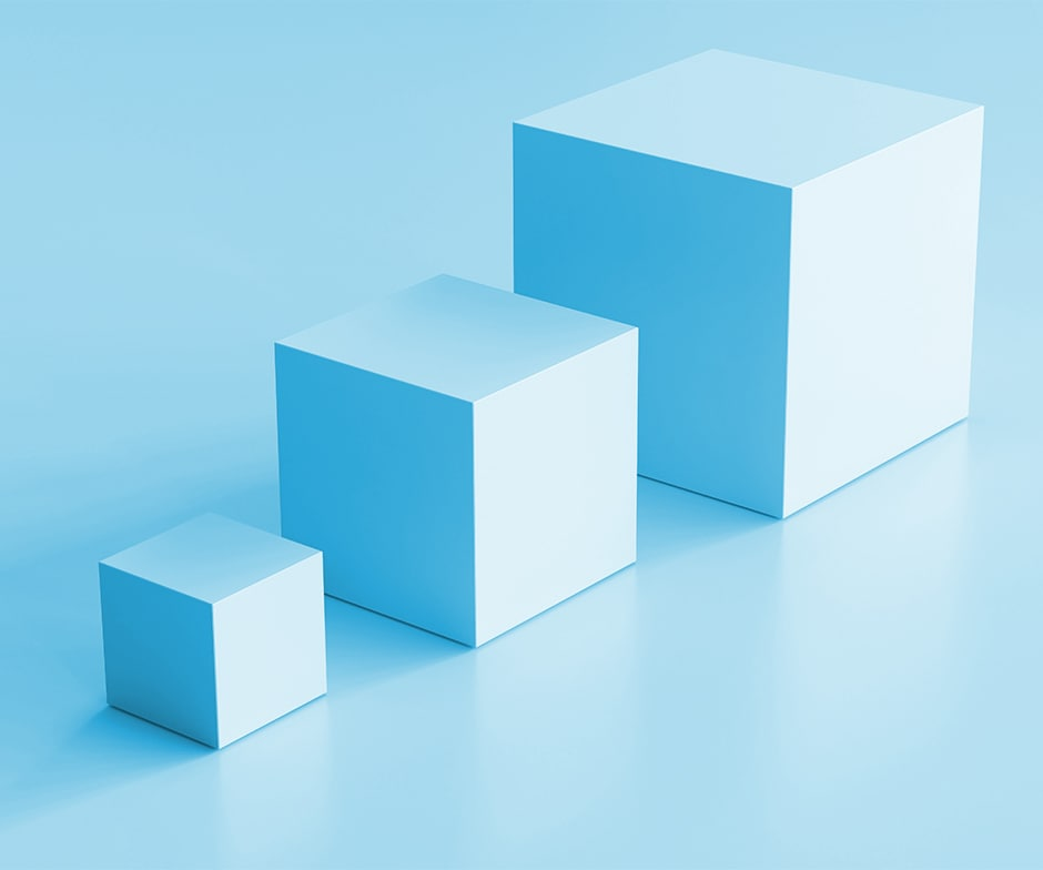 Light blue cubes on blue background