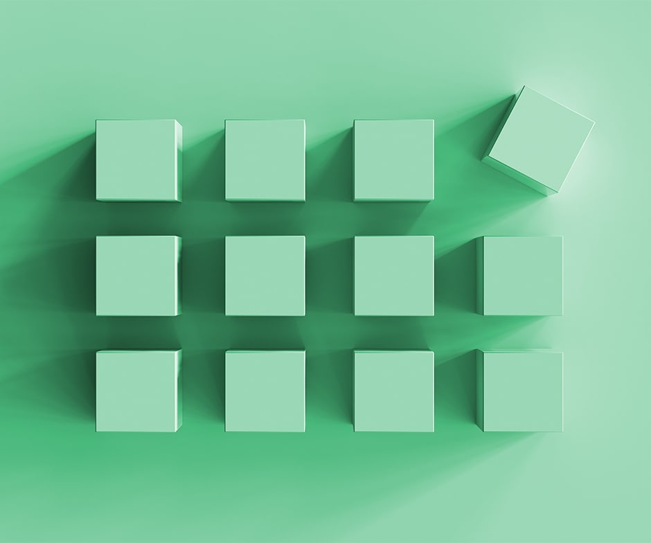 12 green cubes on green background