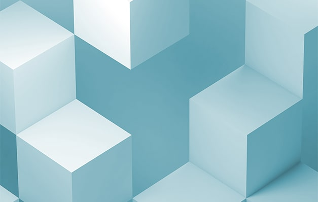 5 blue cubes on a blue background
