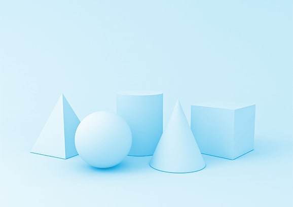 powder blue background with same-colored various 3d shapes