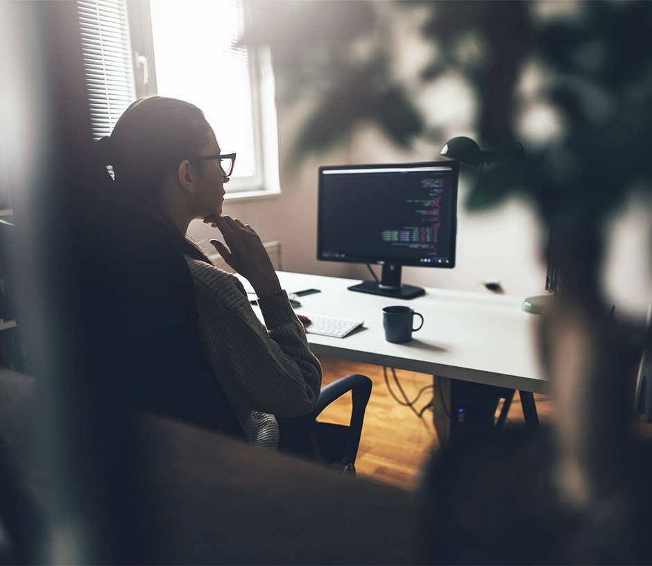 person looking at a computer screen in their home office