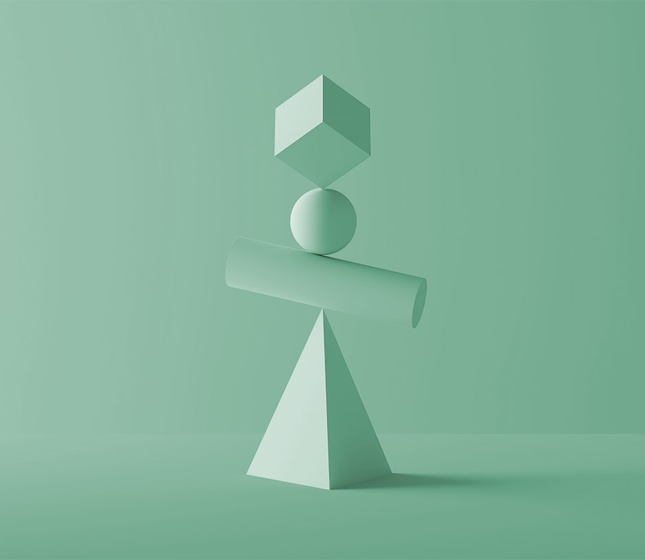 stacked green shapes with green background