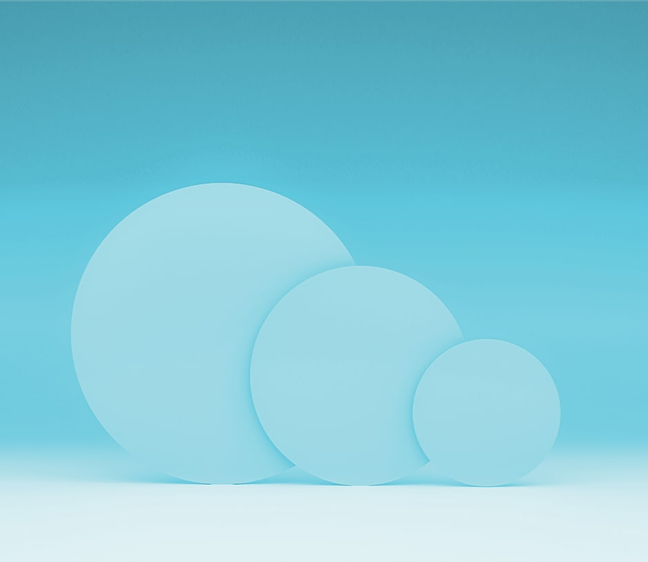 3 large blue circles of varying sizes on a teal backdrop