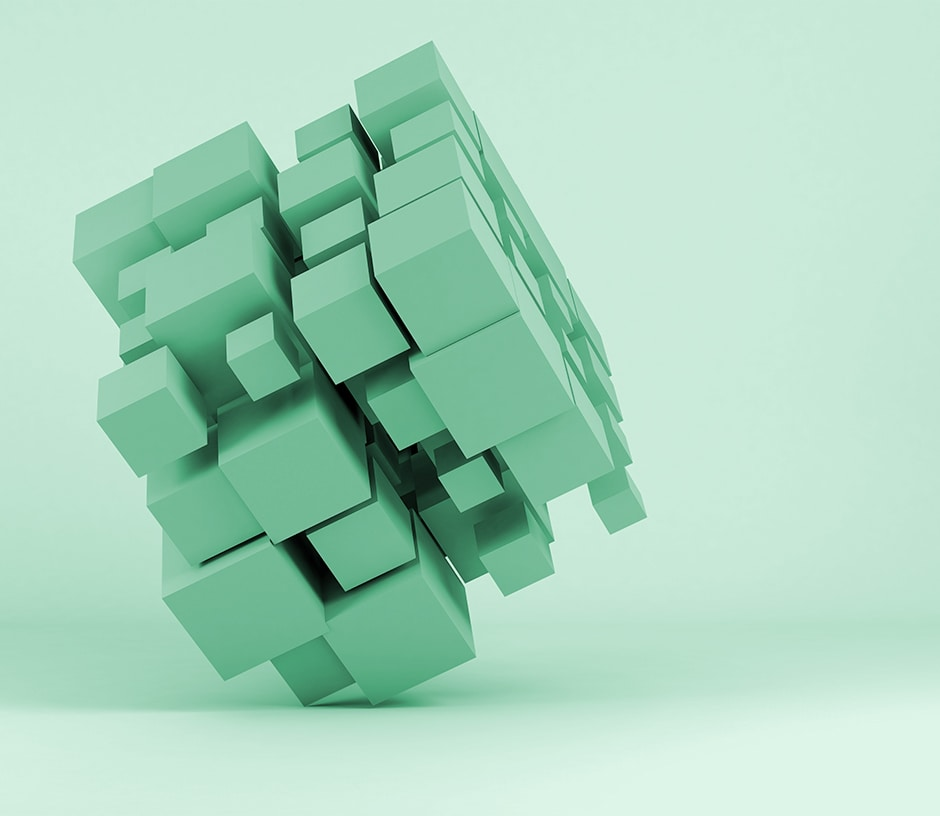 green cube made up of smaller green cubes