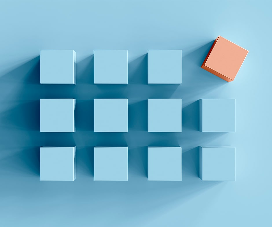 light blue squares with one orange square