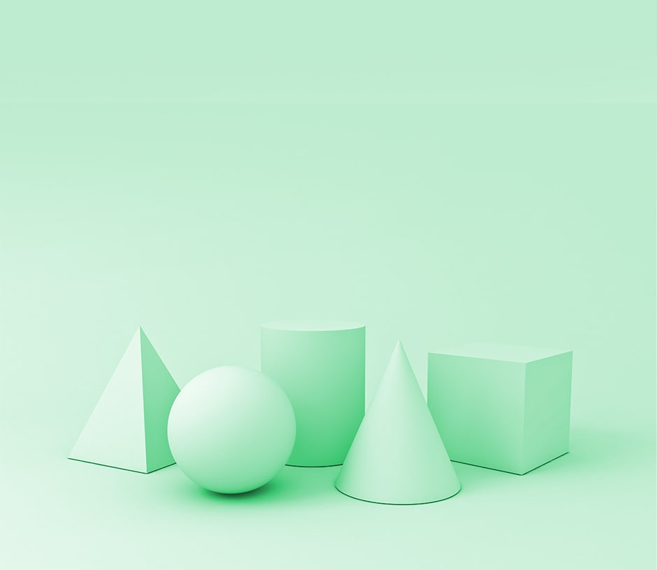 Light Green 3D Shapes on Green Background