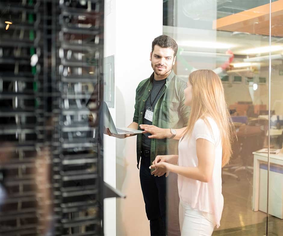 Two people talking in datacenter