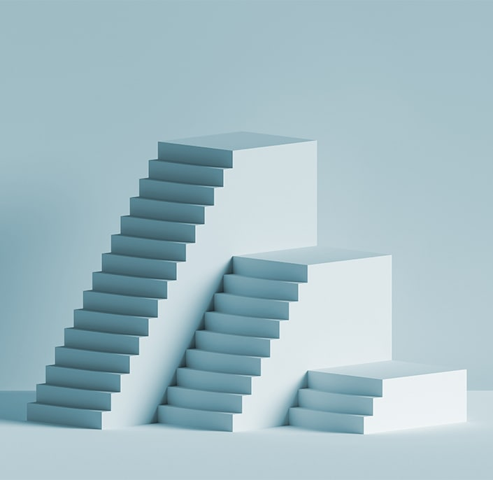 Three blue stair cases of various heights on a blue background