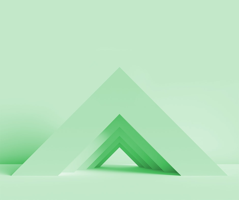 green stacked triangles