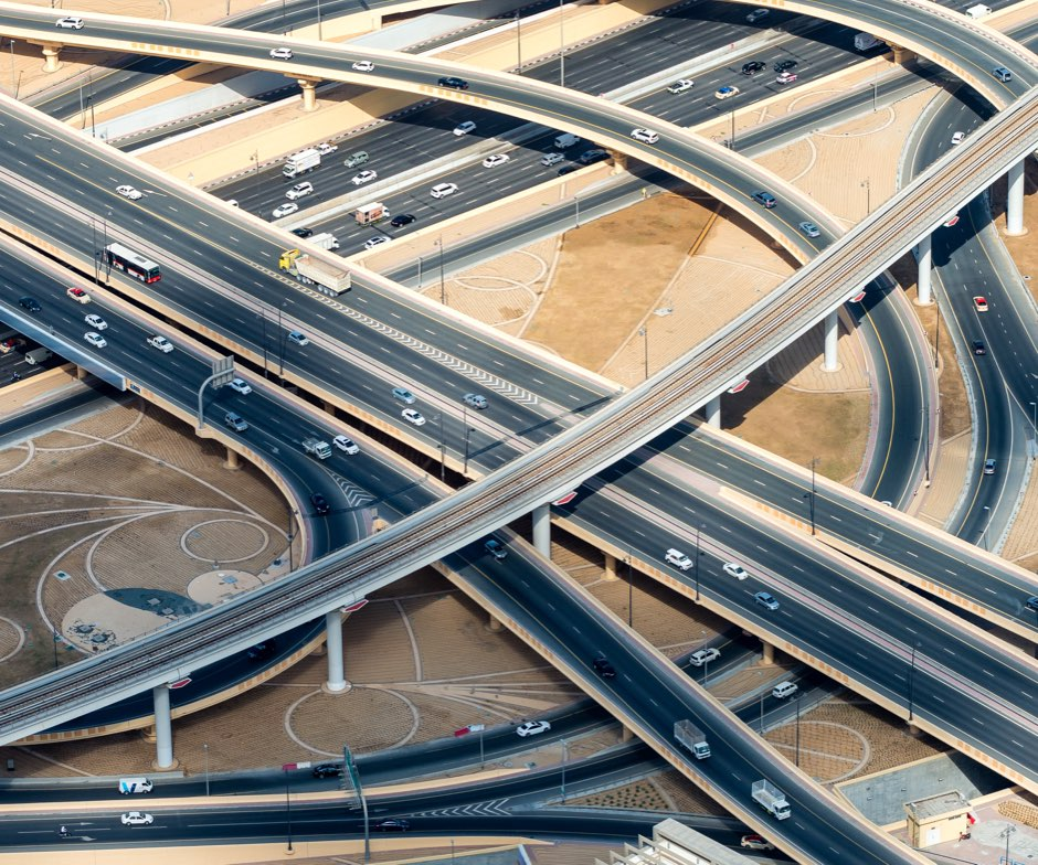 aerial view of highway interchange