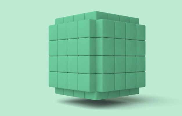Green cubes stacked