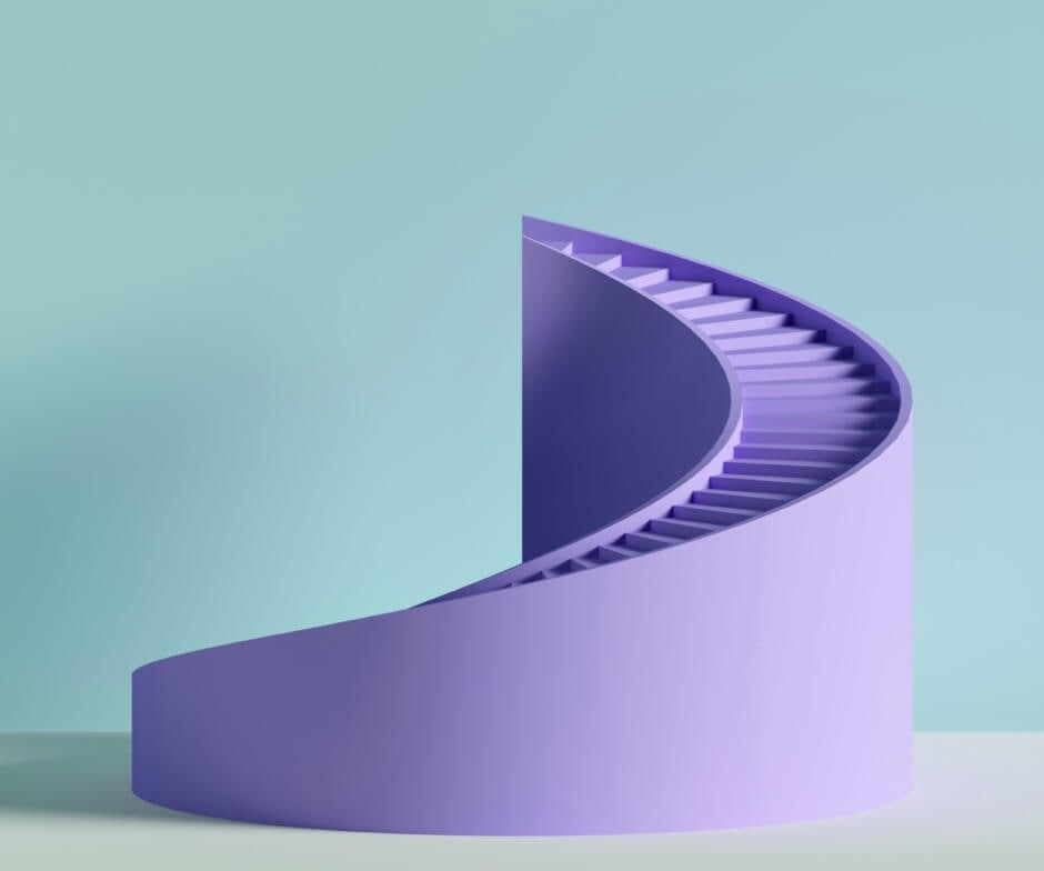 purple stairs on light blue background