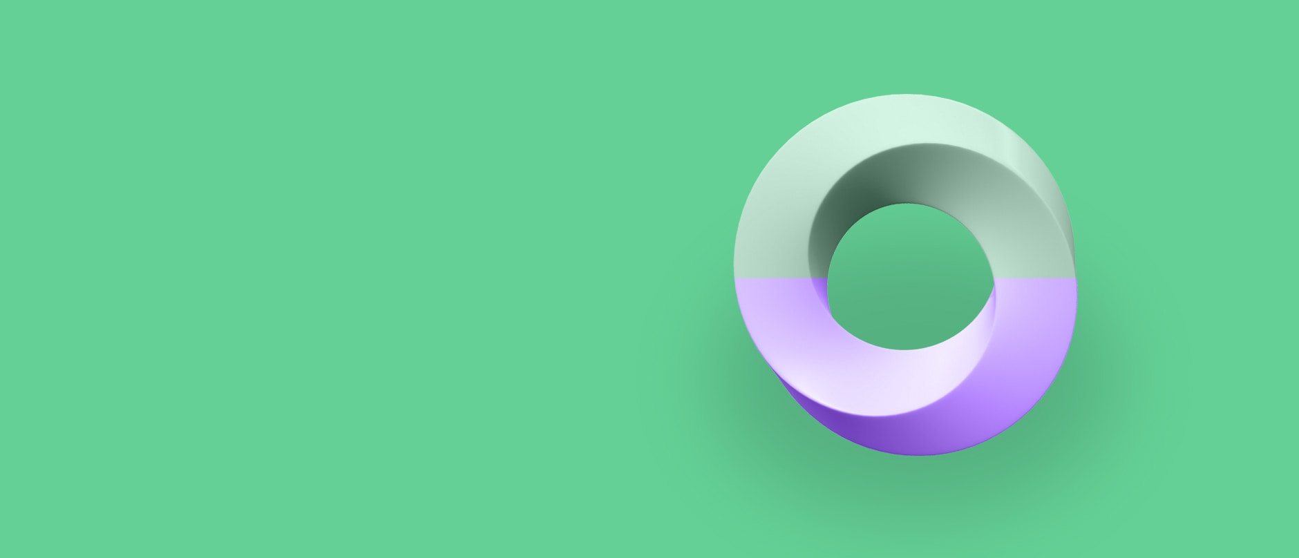 white and purple twisted circle on right side of green background