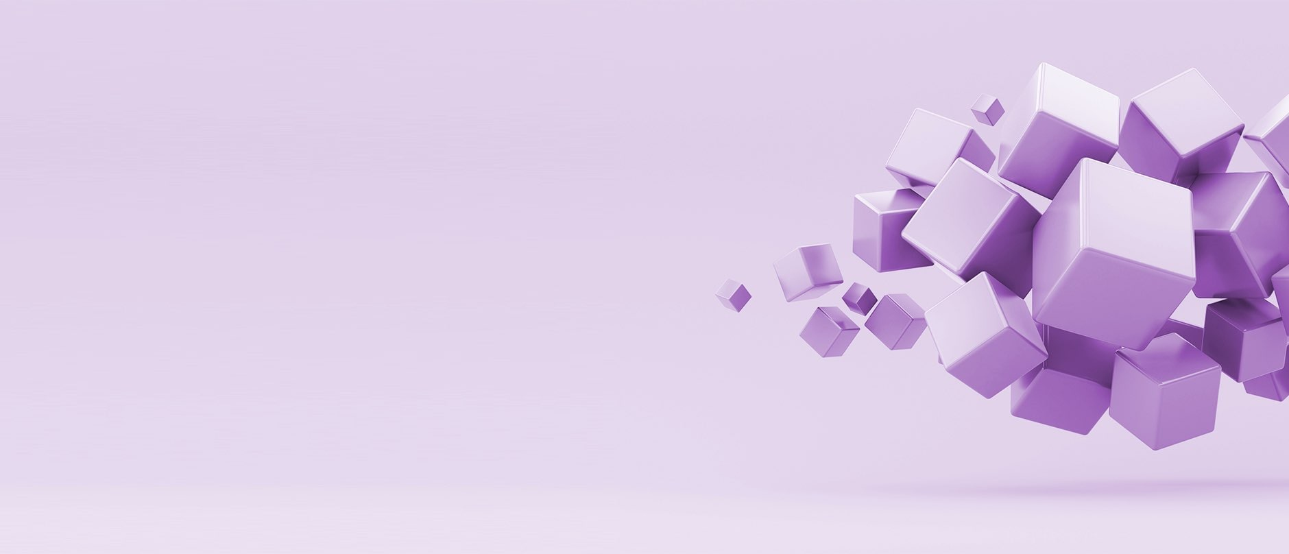 purple cubes floating on a purple background