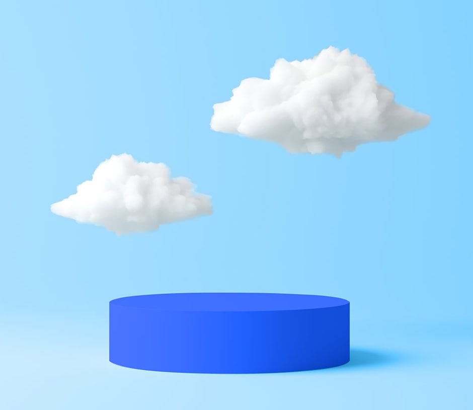 cloud above blue disc