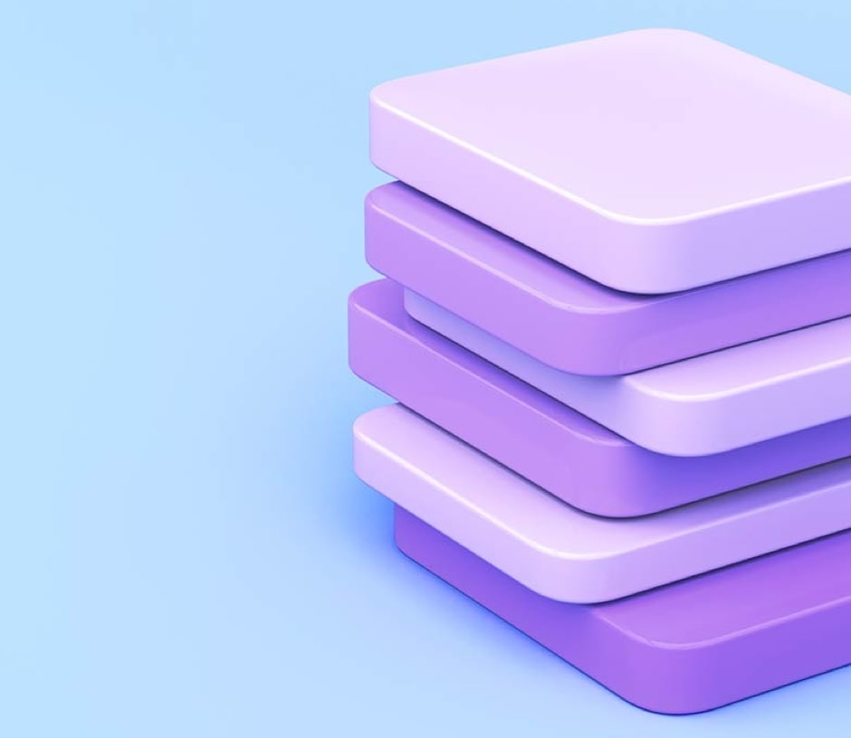 purple slabs staked on top of each other on a blue background