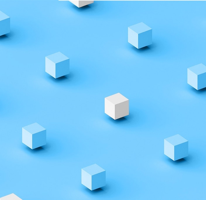 white and blue cubes