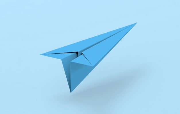 blue airplane on blue background