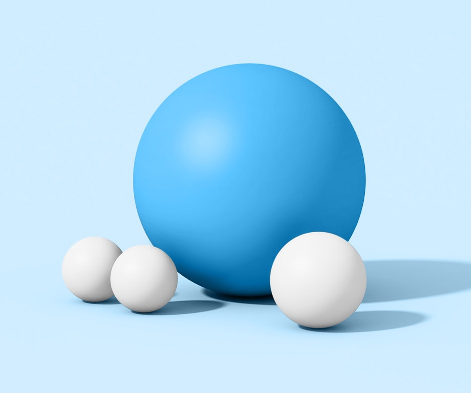 blue and white spheres