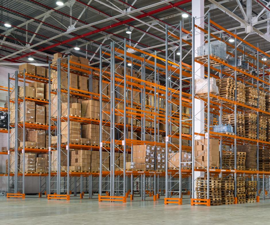 Image of boxes on shelves in a warehouse