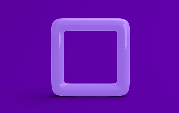 purple square ring behind purple background