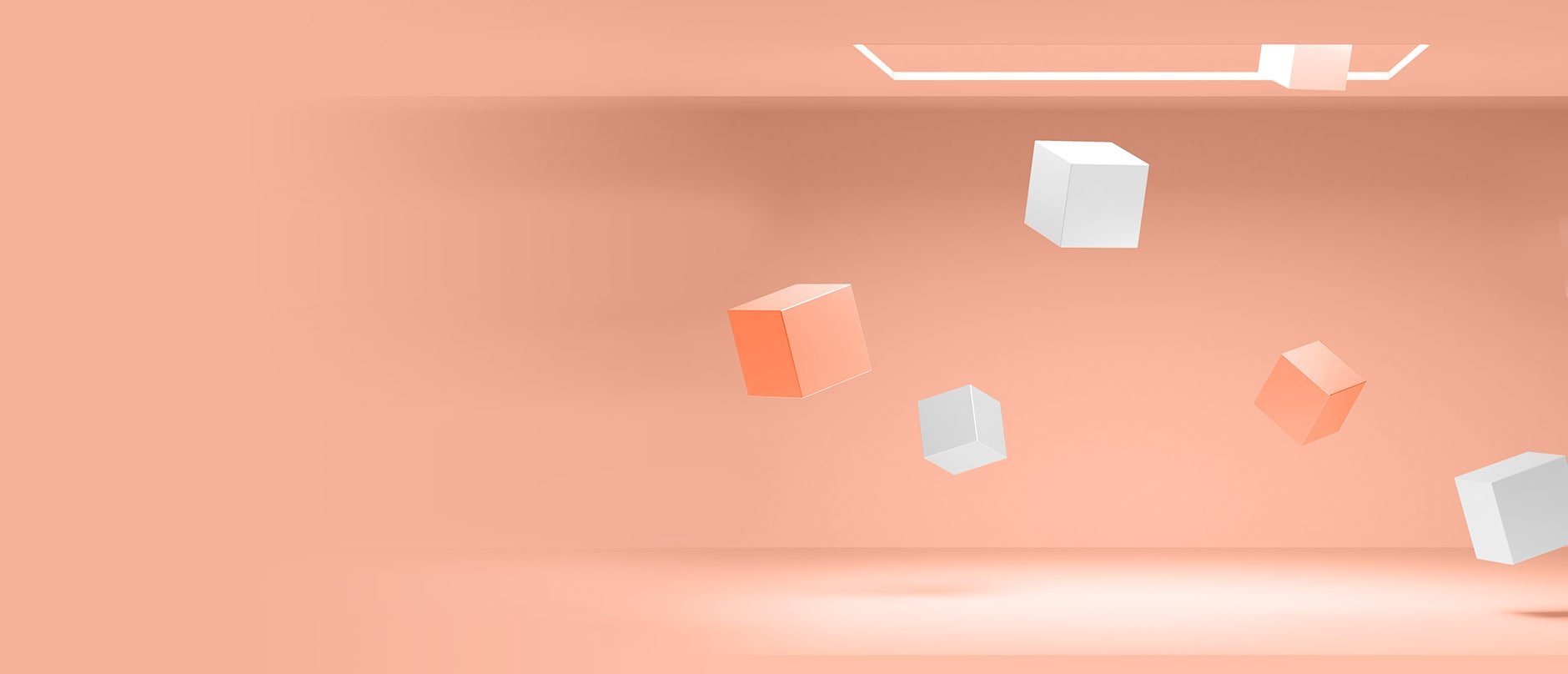 peach and white squares floating on peach background