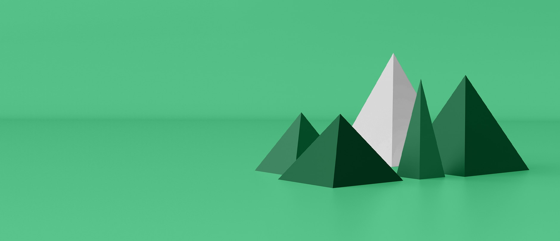 green and white pyramids