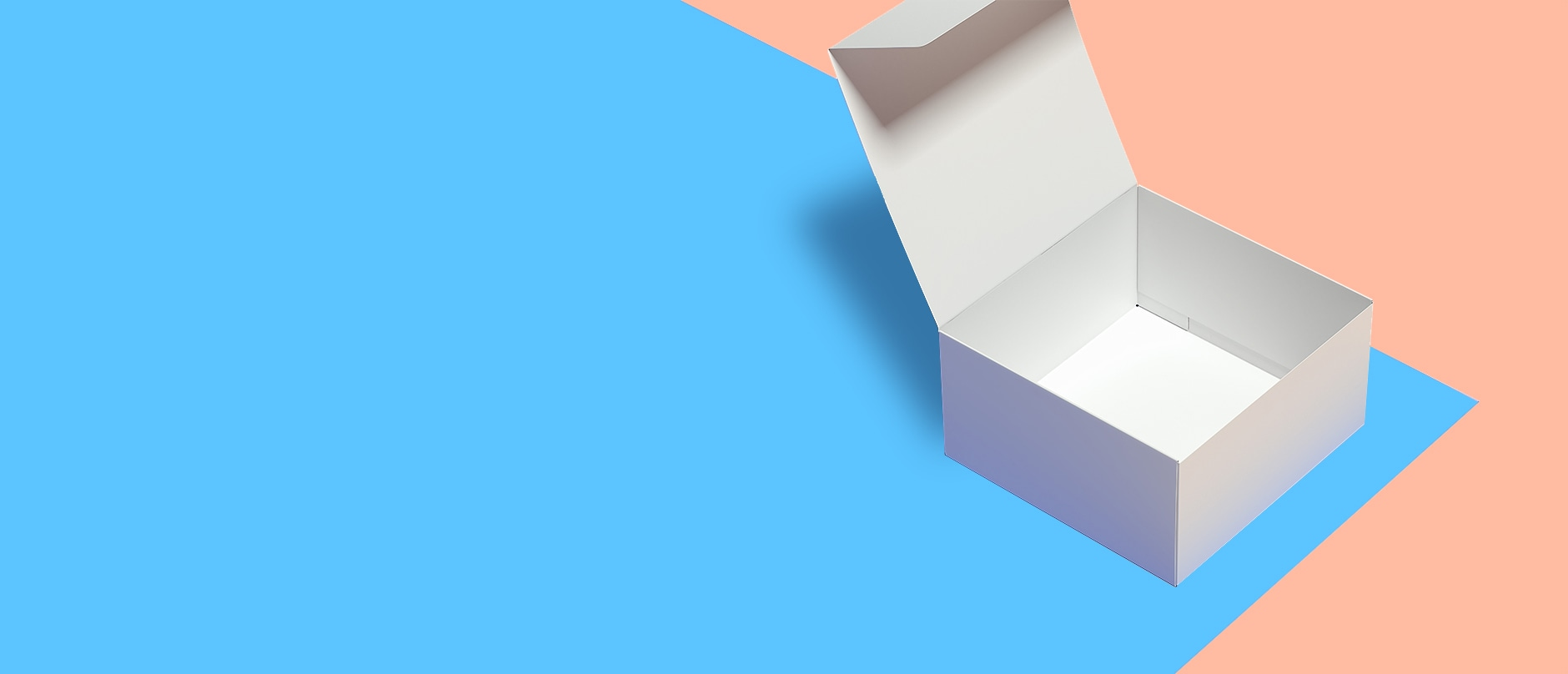 open white box on blue and peach background