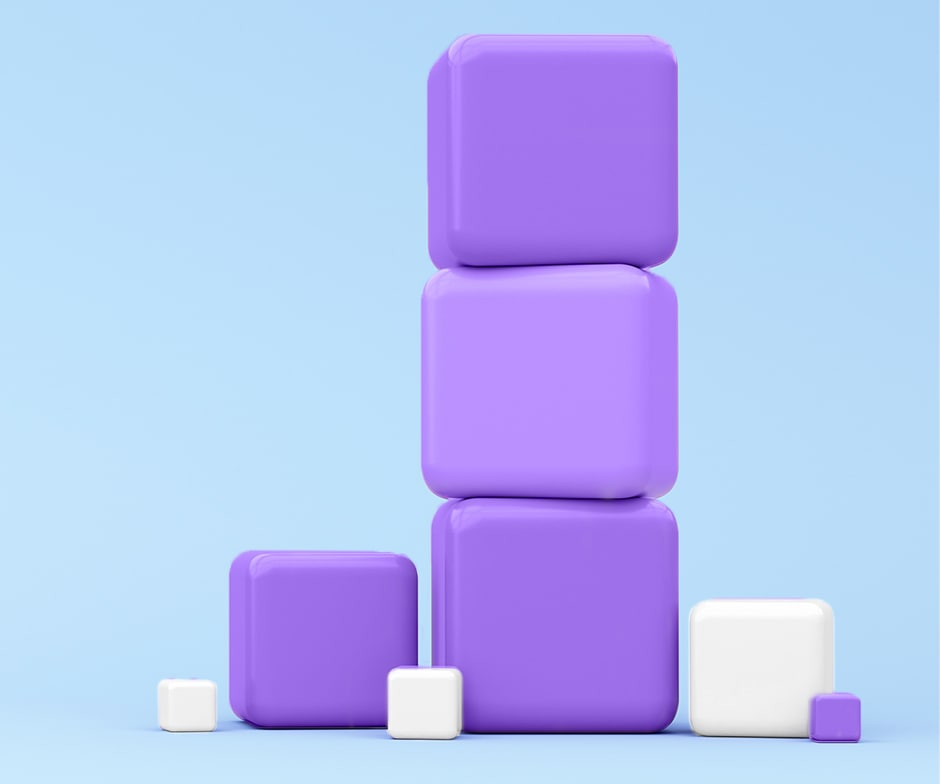 purple and white cubes