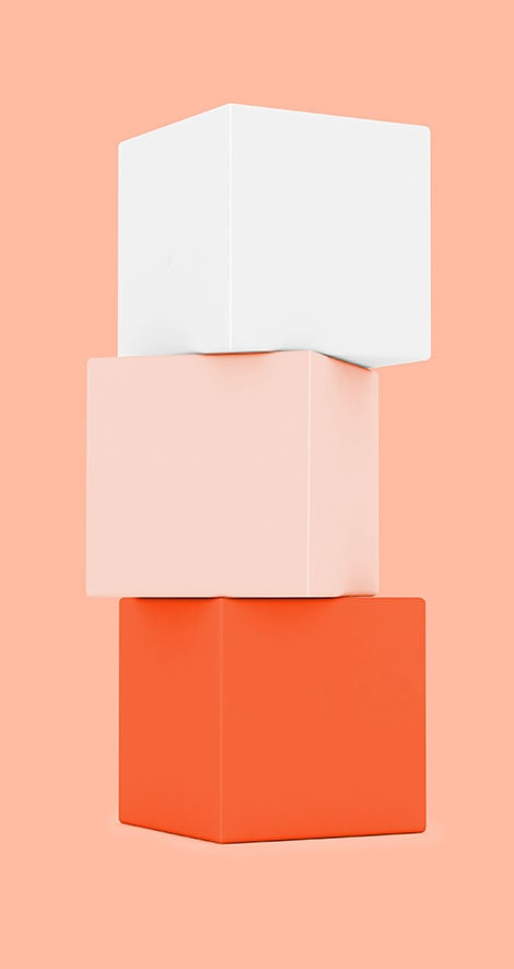orange, light orange, white cubes