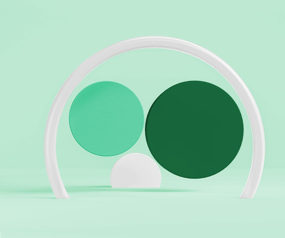 green, light green, white discs