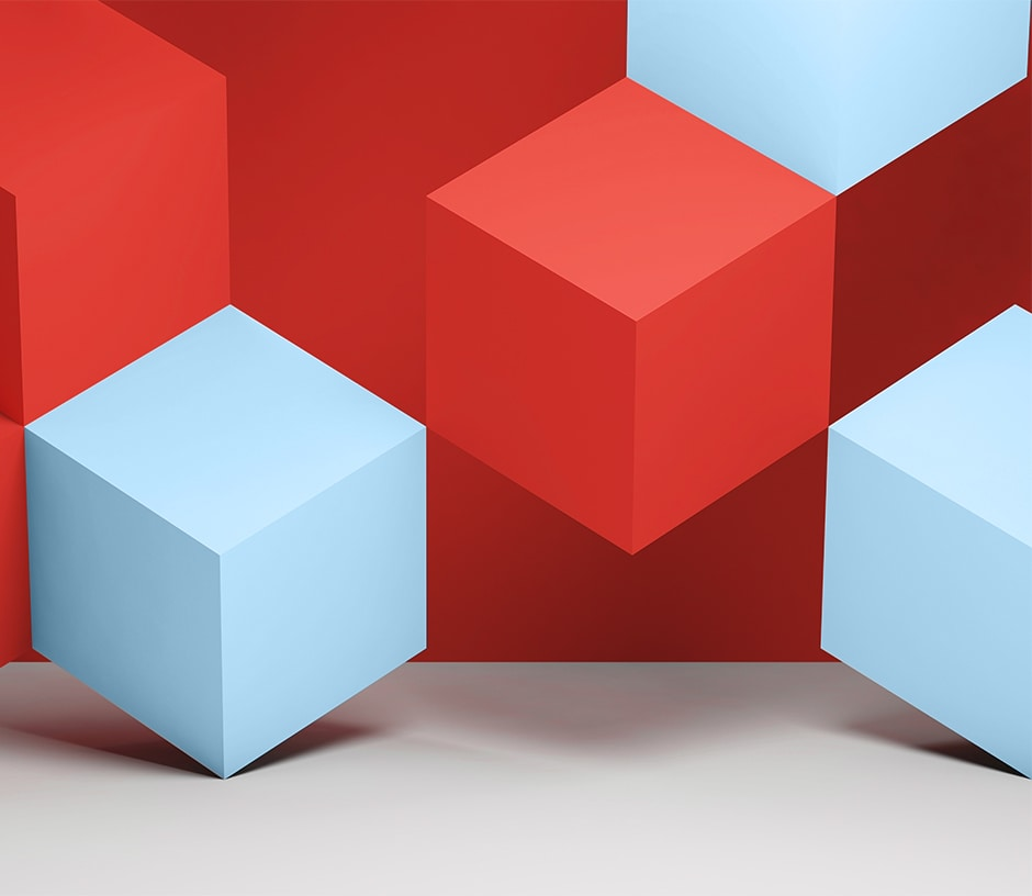 red and blue cubes