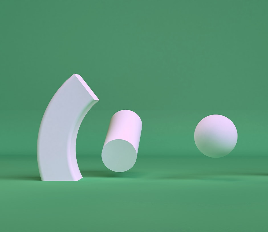 abstract shapes on green background