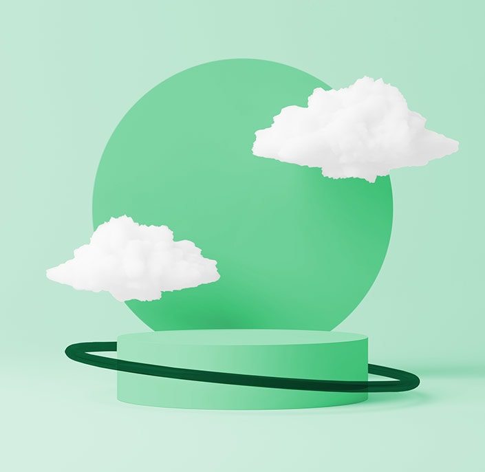 green circlular object with cloud