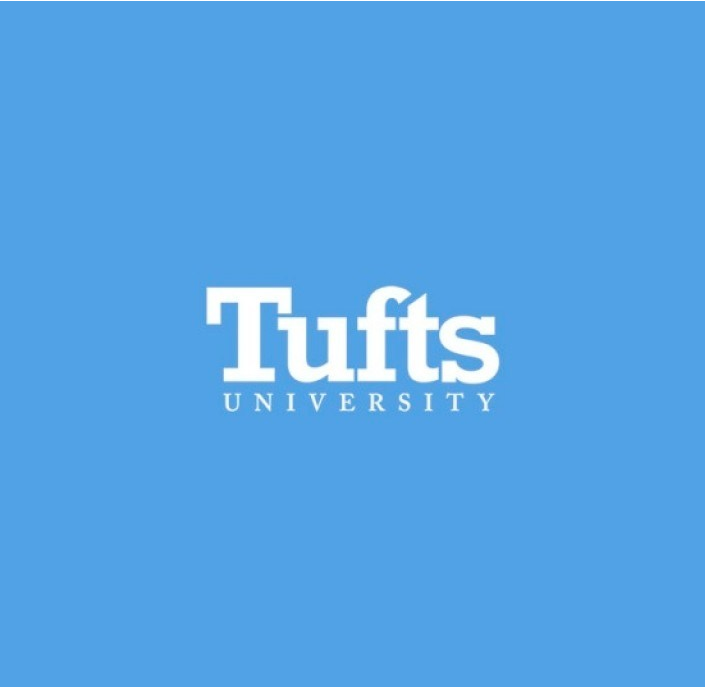 Tufts university logo with white letters on blue background