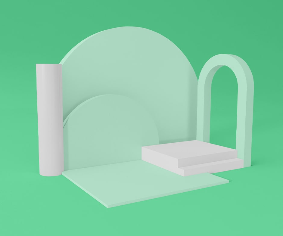 green arch shaped objects with white cylinder